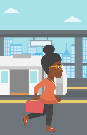 An african-american young woman walking on the train platform on the background of train with open doors. Vector flat design illustration. Vertical layout.