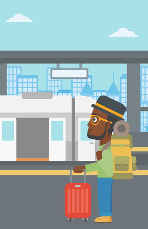 An african-american young man standing at the train station on the background of train with open doors. Young man with suitcase waiting for a train. Vector flat design illustration. Vertical layout. Illustration
