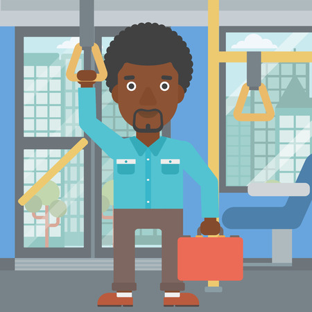 handgrip: An african-american young man traveling by public transport. Man traveling by passenger bus or subway. Vector flat design illustration. Square layout.