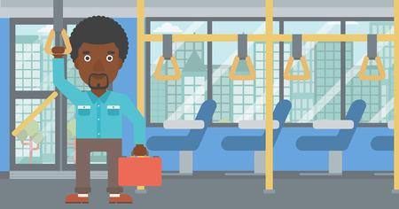 handgrip: An african-american young man traveling by public transport. Man traveling by passenger bus or subway. Vector flat design illustration. Horizontal  layout.