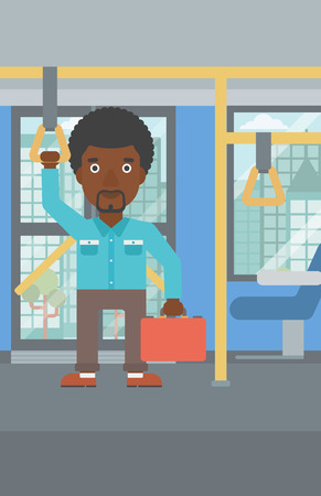 handgrip: An african-american young man traveling by public transport. Man traveling by passenger bus or subway. Vector flat design illustration. Vertical layout.