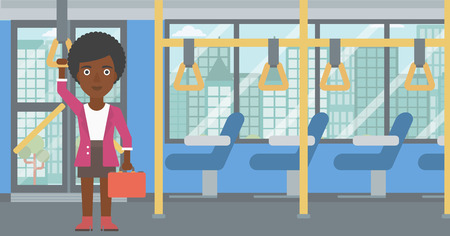 commuter: An african-american woman traveling by public transport. Young woman standing inside public transport. Woman traveling by passenger bus or subway. Vector flat design illustration. Horizontal layout.
