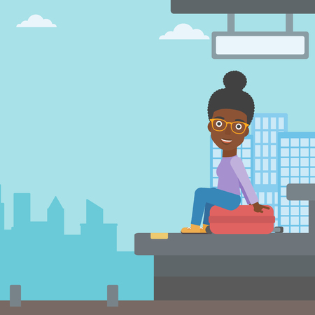 arriving: African-american young woman sitting on a suitcase at the train station on the background of arriving train. Woman waiting for a train at the platform. Vector flat design illustration. Square layout. Illustration