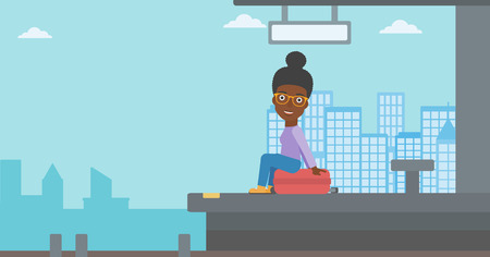 arriving: African-american woman sitting on a suitcase at the train station on the background of arriving train. Woman waiting for a train at the platform. Vector flat design illustration. Horizontal layout.