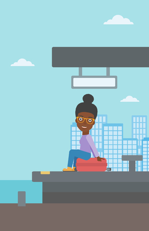 arriving: An african-american woman sitting on a suitcase at the train station on the background of arriving train. Woman waiting for a train at the platform. Vector flat design illustration. Vertical layout.