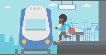 train station: An african-american latecomer man with briefcase running along the platform to reach the train. Hipster man came too late at train station. Vector flat design illustration. Horizontal  layout.
