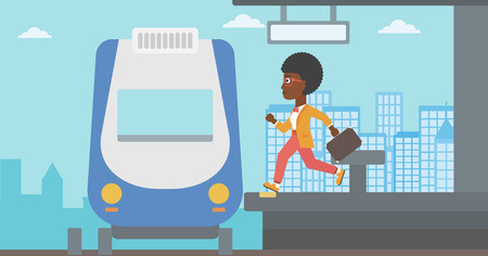 woman running: An african-american latecomer woman running along the platform to reach the train. Young woman with briefcase at the train station. Vector flat design illustration. Horizontal  layout. Illustration