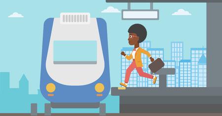 Ein afroamerikanischer Nachzügler Frau, die entlang der Plattform läuft mit dem Zug zu erreichen. Junge Frau mit Aktenkoffer am Bahnhof. Vector flache Design-Illustration. Horizontal-Layout.