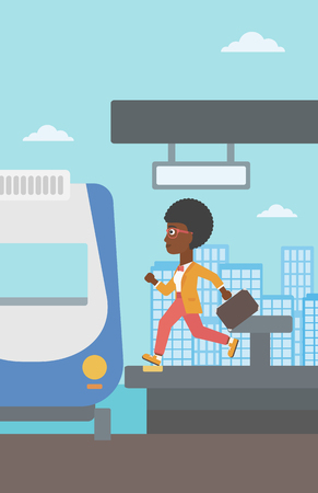 train station: An african-american latecomer woman running along the platform to reach the train. Young woman with briefcase at the train station. Vector flat design illustration. Vertical layout. Illustration