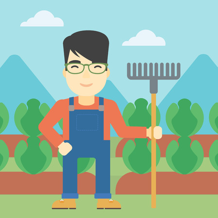 agrarian: An asian friendly farmer holding a rake. Farmer standing on the background of cabbage field. Vector flat design illustration. Square layout.