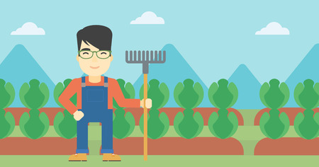 An asian friendly farmer holding a rake. Farmer standing on the background of cabbage field. Vector flat design illustration. Horizontal layout. Çizim