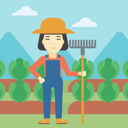 agrarian: An asian female farmer holding a rake. Friendly farmer standing on the background of cabbage field. Vector flat design illustration. Square layout.