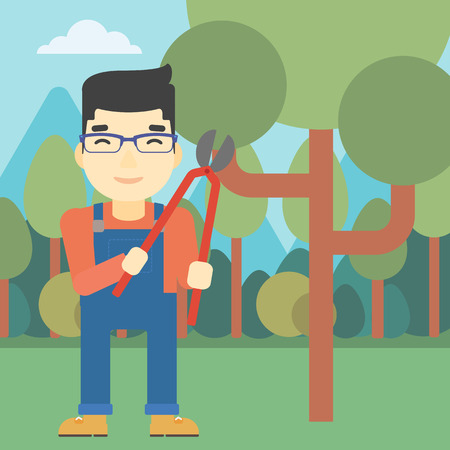 pruner: An asian farmer working with a pruner in the garden. Young man pruning branch. Gardener trimming branches in garden. Vector flat design illustration. Square layout. Illustration