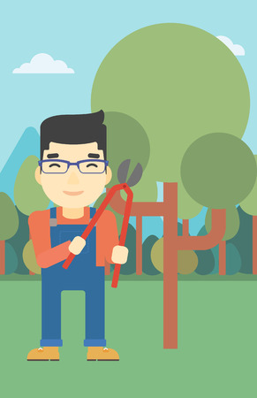asian farmer: An asian farmer working with a pruner in the garden. Young man pruning branch. Gardener trimming branches in garden. Vector flat design illustration. Vertical layout.