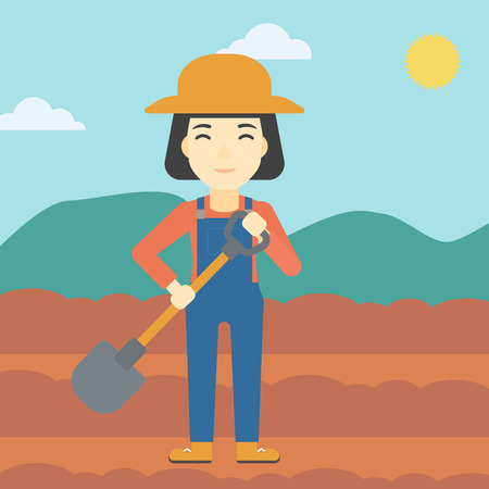 plowed: An asian female farmer with shovel on the background of plowed agricultural field. Friendly farmer with spade in field. Vector flat design illustration. Square layout. Illustration