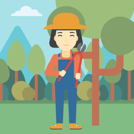 trimming: An asian female farmer working with a pruner in the garden. Young woman pruning branch. Gardener trimming branches in garden. Vector flat design illustration. Square layout.