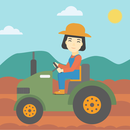 fieldwork: An asian female farmer driving a tractor on the background of plowed agricultural field. Farmer sitting on a tractor in the countryside. Vector flat design illustration. Square layout. Illustration