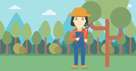 pruning: An asian female farmer working with a pruner in the garden. Young woman pruning branch. Gardener trimming branches in garden. Vector flat design illustration. Horizontal layout.