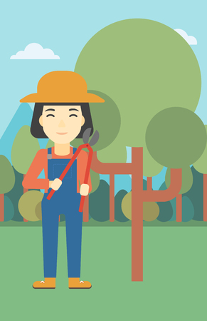 trimming: An asian female farmer working with a pruner in the garden. Young woman pruning branch. Gardener trimming branches in garden. Vector flat design illustration. Vertical layout.