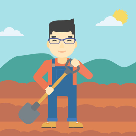 asian farmer: An asian farmer with shovel on the background of plowed agricultural field. Friendly farmer with spade in field. Vector flat design illustration. Square layout.