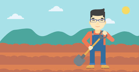 asian farmer: An asian farmer with shovel on the background of plowed agricultural field. Friendly farmer with spade in field. Vector flat design illustration. Horizontal layout.