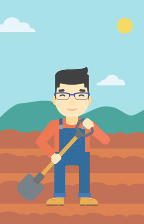 asian farmer: An asian farmer with shovel on the background of plowed agricultural field. Friendly farmer with spade in field. Vector flat design illustration. Vertical layout.