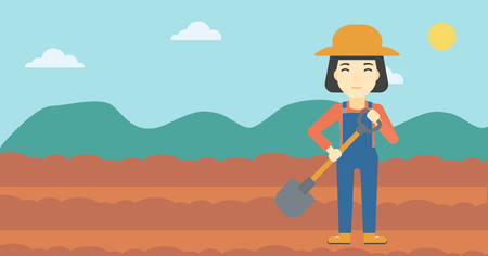 plowed: An asian female farmer with shovel on the background of plowed agricultural field. Friendly farmer with spade in field. Vector flat design illustration. Horizontal layout. Illustration