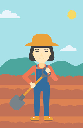 plow: An asian female farmer with shovel on the background of plowed agricultural field. Friendly farmer with spade in field. Vector flat design illustration. Vertical layout. Illustration