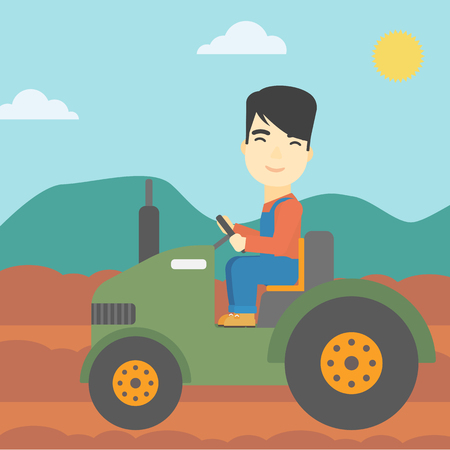 plowed: An asian farmer driving a tractor on the background of plowed agricultural field. Farmer sitting on a tractor in the countryside. Vector flat design illustration. Square layout.