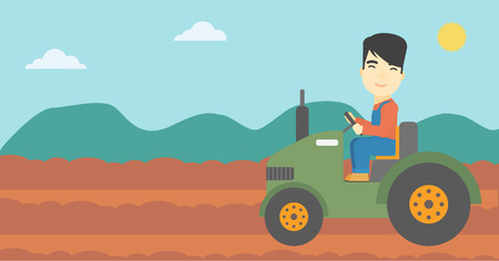 asian farmer: An asian farmer driving a tractor on the background of plowed agricultural field. Farmer sitting on a tractor in the countryside. Vector flat design illustration. Horizontal layout.