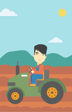 cultivator: An asian farmer driving a tractor on the background of plowed agricultural field. Farmer sitting on a tractor in the countryside. Vector flat design illustration. Vertical layout.