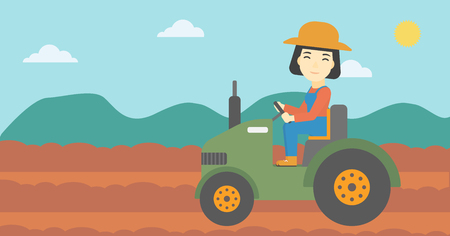 fieldwork: An asian female farmer driving a tractor on the background of plowed agricultural field. Farmer sitting on a tractor in the countryside. Horizontal layout. Illustration