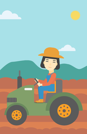 plow: An asian female farmer driving a tractor on the background of plowed agricultural field. Farmer sitting on a tractor in the countryside. Vertical layout.