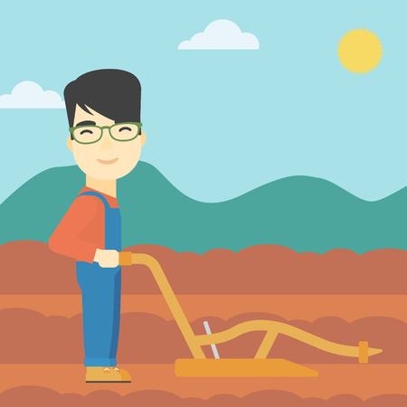 rancher: An asian farmer using a plough on the background of plowed agricultural field. Farmer working with a plough. Vector flat design illustration. Square layout.