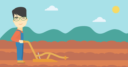 plough: An asian farmer using a plough on the background of plowed agricultural field. Farmer working with a plough. Vector flat design illustration. Horizontal layout.