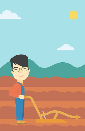 asian farmer: An asian farmer using a plough on the background of plowed agricultural field. Farmer working with a plough. Vector flat design illustration. Vertical layout.