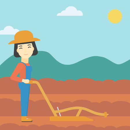 plowed: An asian female farmer using a plough on the background of plowed agricultural field. Farmer working with a plough. Vector flat design illustration. Square layout.
