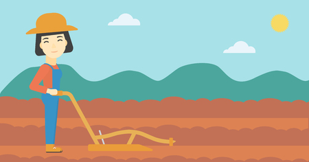 An asian female farmer using a plough on the background of plowed agricultural field. Farmer working with a plough. Vector flat design illustration. Horizontal layout.