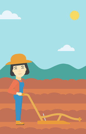 plowed: An asian female farmer using a plough on the background of plowed agricultural field. Farmer working with a plough. Vector flat design illustration. Vertical layout.