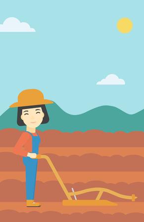 Une agricultrice asiatique en utilisant une charrue sur le fond du domaine agricole labouré. Paysan travaillant avec une charrue. Vector design plat illustration. Présentation verticale. Banque d'images - 59847321