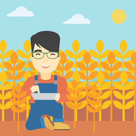 asian farmer: An asian farmer checking plants on a wheat field. Farmer working on a digital tablet in a field. Vector flat design illustration. Square layout.