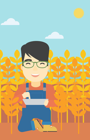 asian farmer: An asian farmer checking plants on a wheat field. Farmer working on a digital tablet in a field. Vector flat design illustration. Vertical layout.