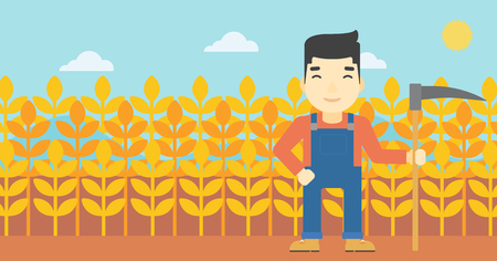 asian farmer: An asian farmer holding a scythe. Young farmer standing on the background of wheat field. Vector flat design illustration. Horizontal layout. Illustration