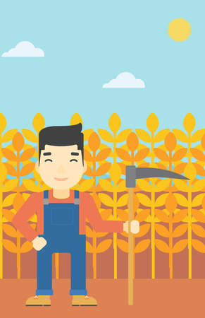 asian farmer: An asian farmer holding a scythe. Young farmer standing on the background of wheat field. Vector flat design illustration. Vertical layout.