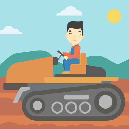 fieldwork: An asian farmer driving a tractor on the background of plowed agricultural field. Farmer sitting on a tractor in the countryside. Vector flat design illustration. Square layout.