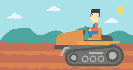 cultivator: An asian farmer driving a tractor on the background of plowed agricultural field. Farmer sitting on a tractor in the countryside. Vector flat design illustration. Horizontal layout.