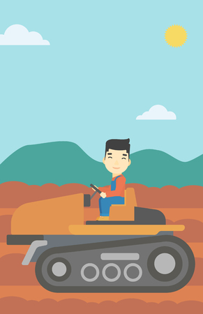fieldwork: An asian farmer driving a tractor on the background of plowed agricultural field. Farmer sitting on a tractor in the countryside. Vector flat design illustration. Vertical layout.