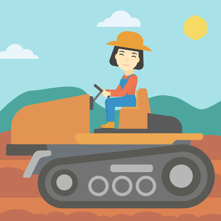 fieldwork: An asian female farmer driving a tractor on the background of plowed agricultural field. Farmer sitting on a tractor in the countryside. Square layout. Illustration