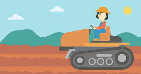 plow: An asian female farmer driving a tractor on the background of plowed agricultural field. Farmer sitting on a tractor in the countryside. Horizontal layout. Illustration