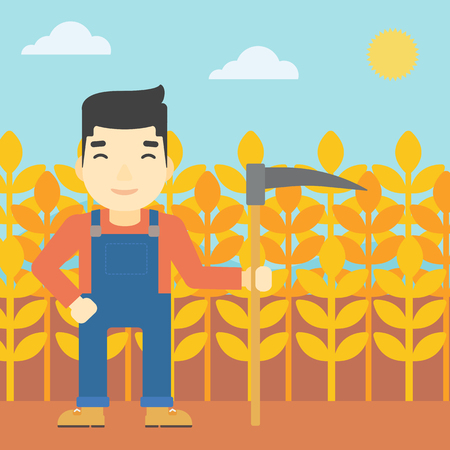 asian farmer: An asian farmer holding a scythe. Young farmer standing on the background of wheat field. Vector flat design illustration. Square layout.